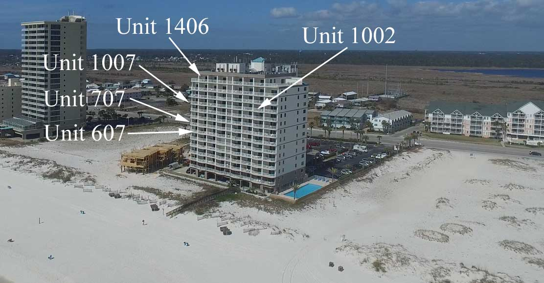 Aerial image of Royal Palms rental condos in Gulf Shores, AL